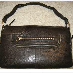 BCBG MAXAZRIA dark brown leather demi shoulder bag